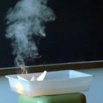 Chamas e fume no naufraxio do Casón